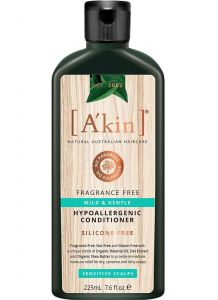 A'kin Mild & Gentle Conditioner Fragrance Free Sensitive Scalps Hair Care 225ml